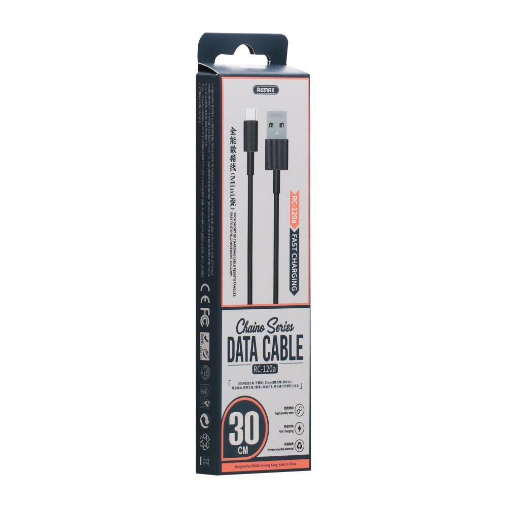 USB кабель Remax RC-120a Chaino Type-C (30см, черный)