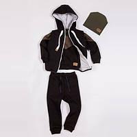 Костюм Little Bunny с начесом (кофта + желет + штаны + шапка) 104см Коричневый (560047)