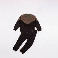 Костюм (джемпер + штаны) Little Bunny с начесом 128см Коричнево-черный (591076)