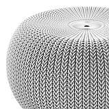 Пуф Keter Knit ( Cozy ) Single Seat Cloudy Grey ( світло - сірий ) з штучного ротанга, фото 7