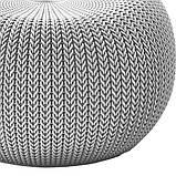 Пуф Keter Knit ( Cozy ) Single Seat Cloudy Grey ( світло - сірий ) з штучного ротанга, фото 8