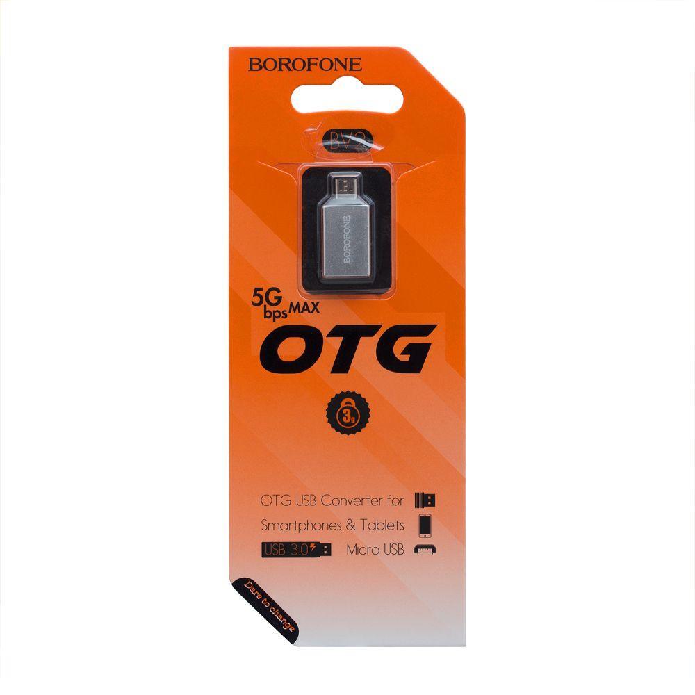 OTG перехідник Borofone BV2 Micro (сірий)