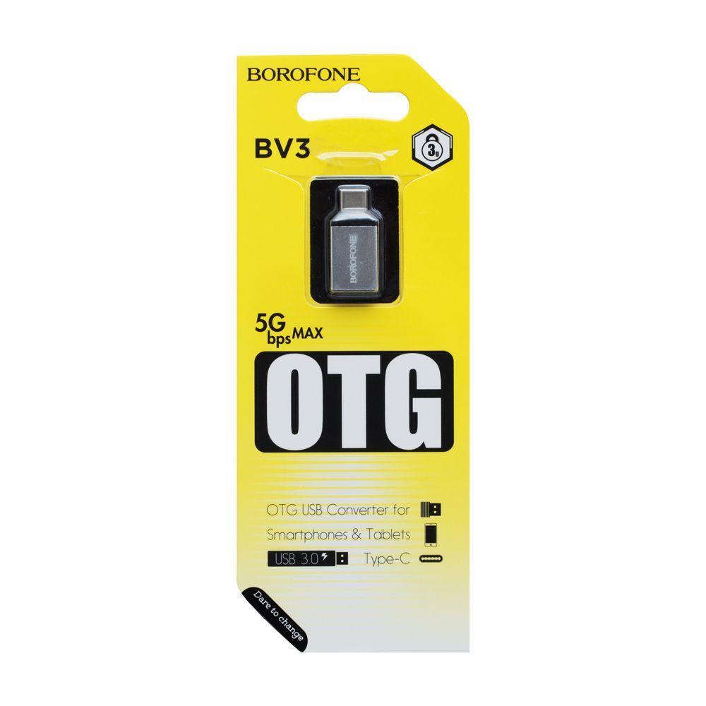 OTG переходник Borofone BV3 Type-C (серый)