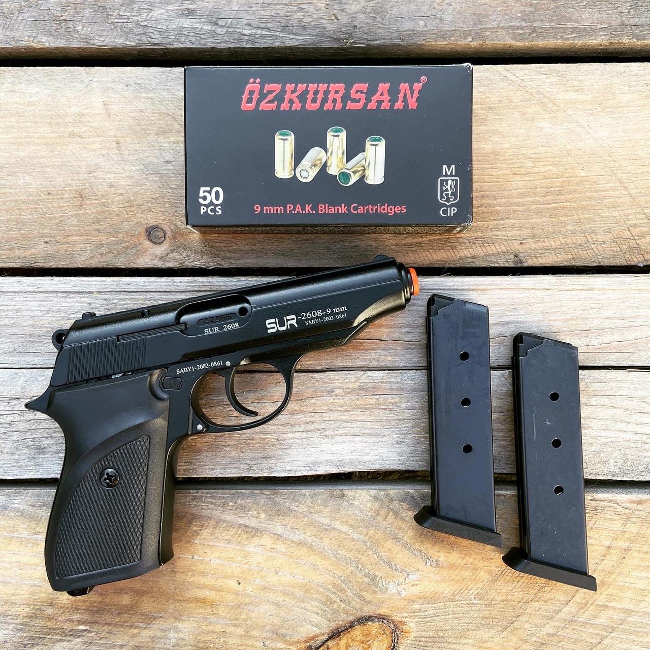 Стартовый пистолет SUR 2608 + 50 патронов Ozkursan 9 мм