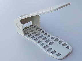 Двойная подставка-органайзер для обуви фисташкового цвета. Регулируется по высоте в 4 положениях., фото 2