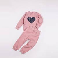 Костюм (джемпер + штаны) Little Bunny с паетками 128см Розовый (873057)