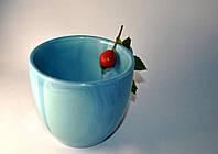 Керамическая небесно-голубая чашка
