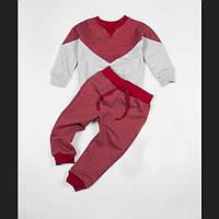 Костюм (джемпер + штаны) Little Bunny с начесом 128см Красно-Серый (1066085)