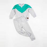 Костюм (джемпер + штаны) Little Bunny с начесом 128см Мятно-Серый (1152085)