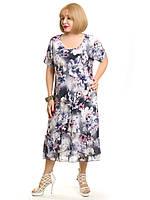 Женское платье из масла с шифоном. Размер 52-54, 54-56, 56-58, 58-60