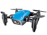 Мини квадрокоптер складной c WiFi Камерой BauTech S9HW Дрон на радиоуправлении с режимом Headless Синий