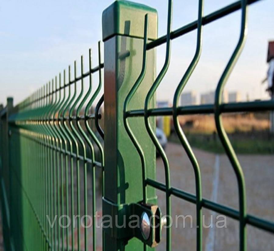 Заборные секции из сварной сетки с изгибом Заграда Стандарт с полимерным покрытием 1700