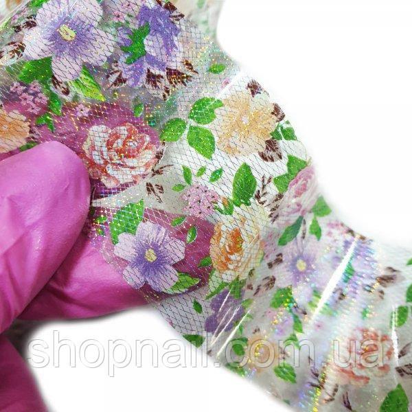 Фольга для ногтей Сеточка голограммная с цветами (50 см)