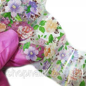 Фольга для нігтів Сіточка голограмний з квітами (50 см)