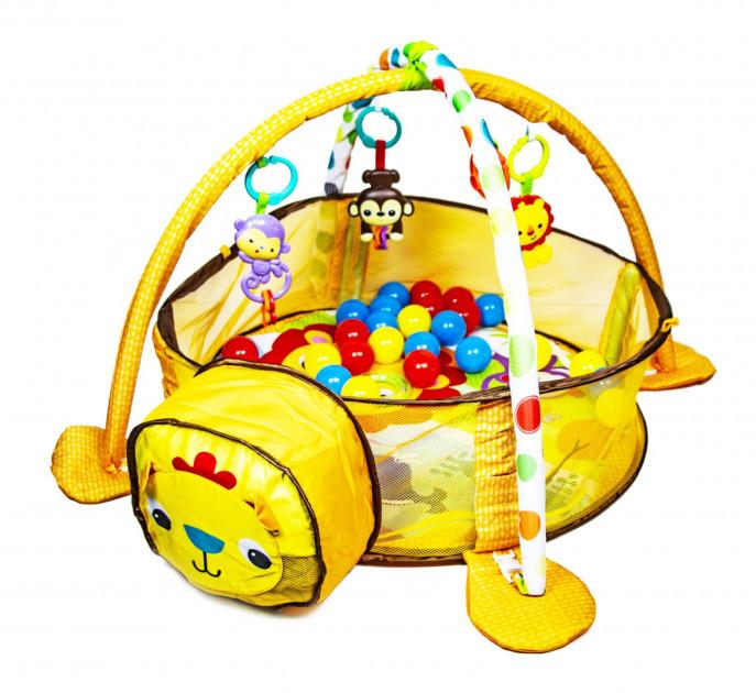 Детский развивающий коврик-манеж с цветными шариками Львенок с дугами и погремушками  для ребенка с рождения