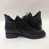 39,40 р. Женские кожаные закрытые туфли-полуботинки на шнурках красивые модные, фото 6