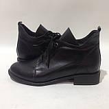 39,40 р. Женские кожаные закрытые туфли-полуботинки на шнурках красивые модные, фото 7