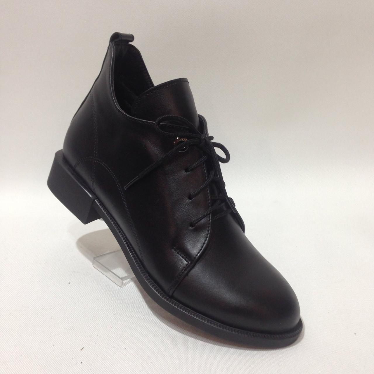 39,40 р. Женские кожаные закрытые туфли-полуботинки на шнурках красивые модные