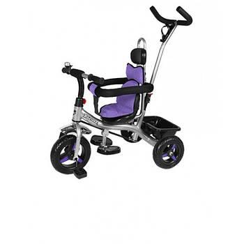Велосипед трехколесный THUNDER T-321 EVA колеса и системой Anti-slip + корзина колокольчик Черный/Фиолетовый