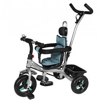 Велосипед трехколесный THUNDER T-321 EVA колеса и системой Anti-slip + корзина и колокольчик Черный/Бирюзовый