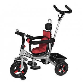 Велосипед трехколесный HUNDER T-321 с EVA колесами и системой Anti-slip + корзина и колокольчик Черный/Красный
