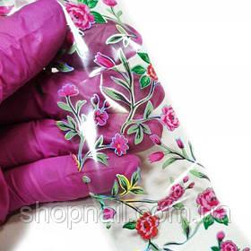 Фольга для нігтів Яскраві квіти (50 см)