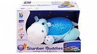 Музыкальная мягкая игрушка-ночник с проектором Бегемот Светильник звездное небо для детейJLD333-34A