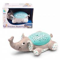 Детский музыкальный ночник игрушка проектор звездного неба Слоник Плюшевый светильник для ребенка Metr+