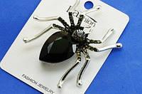 Брошь Паук черный с камнем украшения на Хеллоуин Fashion К-120192