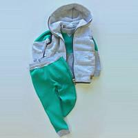 Костюм (штаны + джемпер + жилет) Little Bunny 104см Серо-мятный (2327046)