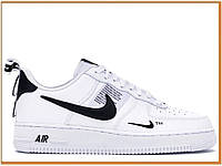 Женские кроссовки Nike Air Force 1 Low Utility White Black (найк аир форс 1 низкие, белые / черные)