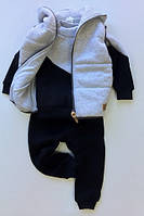 Костюм (штаны + джемпер + жилет) Little Bunny 122см Серо-синий (2348046)