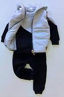 Костюм (штаны + джемпер + жилет) Little Bunny 128см Серо-синий (2349046)