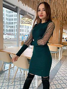 Платье с шифоновым рукавом в горошек, машинная вязка, пряжа акрил, размер универсальный 42-50