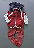 Костюм (штаны + джемпер + жилет) Little Bunny 110см Красно-Серый (2421046)