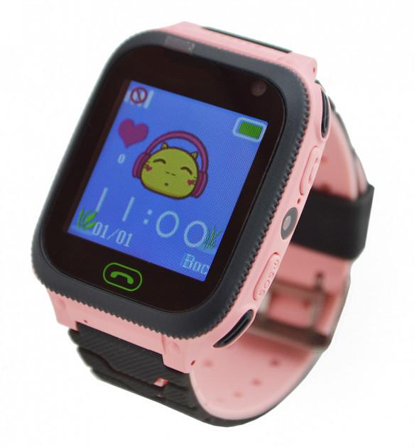 Смарт годинник дитячі з GPS UWatch F3, розумні годинник для дівчаток з ліхтариком і камерою рожеві