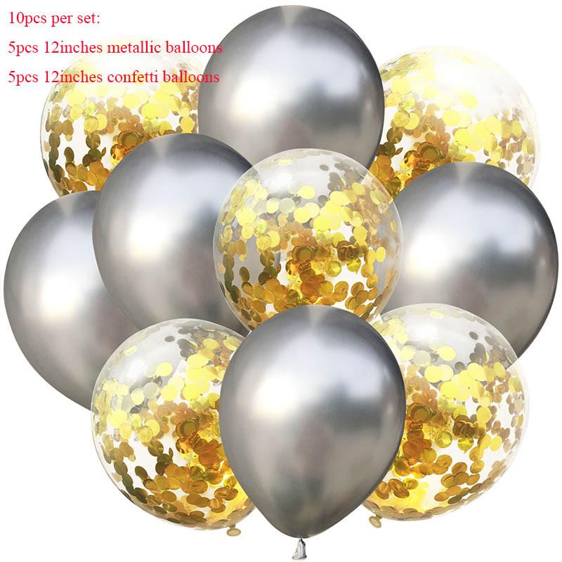 Набор  фонтан  шаров с конфетти ,10 шт, ХРОМ  СЕРЕБРО, Китай