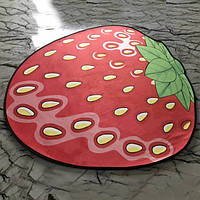 Коврик 3D круглый безворсовый с 3д принтом ковер для дома 80см Клубника Smile