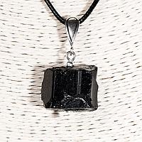 Кулон с самородком шерла черным турмалином, серебро, 18*21 мм., 1308КЛШ