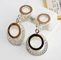 Круглые серьги с накладками золота Оливия, фото 1