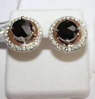 Серьги с черным круглым камнем серебро с золотом Афина, фото 1