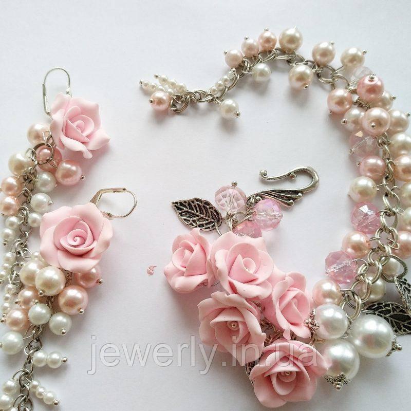 Комплект браслет и серьги  с жемчугом и розами Русалка