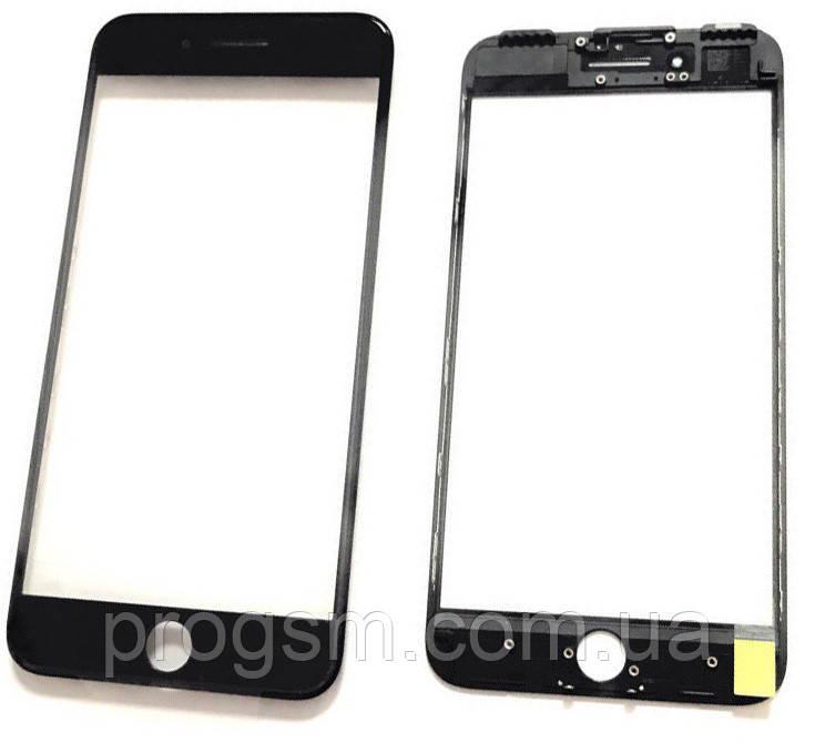"""Стекло дисплея iPhone 7 Plus (5.5"""") для переклейки с рамкой и OCA Black"""