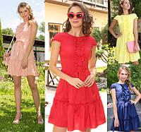 Короткое летнее платье женское с рюшами софт