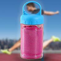 Охлаждающее полотенце для спорта и путешествий Ice Towel в тубе с карабином Розовое