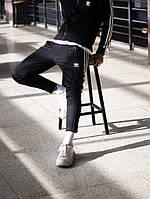 Спортивные штаны мужские укороченные Adidas Stich черные, фото 1