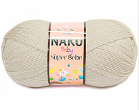 Детская акриловая пряжа (100% акрил, 50г/180м) Nako Super Bebe 6383(бежевый)
