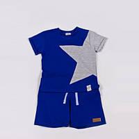 Костюм (футболка + шорты) Little Bunny с аппликацией Звезда 116см Сине-Серый (3175047)