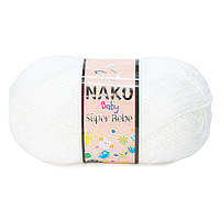 Детская акриловая пряжа (100% акрил, 50г/180м) Nako Super Bebe 208(белый)