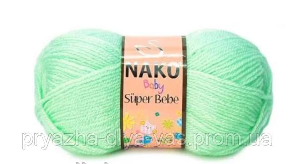 Детская акриловая пряжа (100% акрил, 50г/180м) Nako Super Bebe 11627(салатовый)